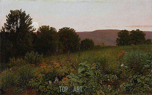 Sunset on the Meadow, 1861 | William Trost Richards | Gemälde Reproduktion