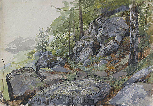 Woodland Boulders, c.1877/78 | William Trost Richards| Painting Reproduction