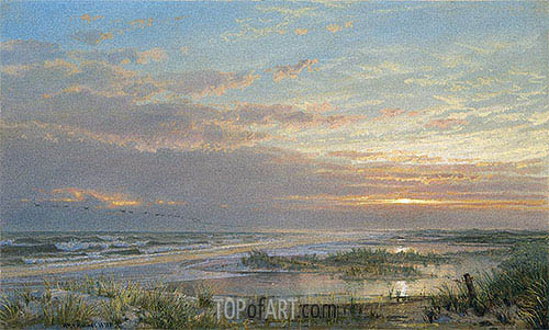 A High Tide at Atlantic City, 1873 | William Trost Richards | Painting Reproduction