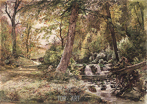 William Trost Richards | Landscape with Stream and Road, Chester County, c.1886