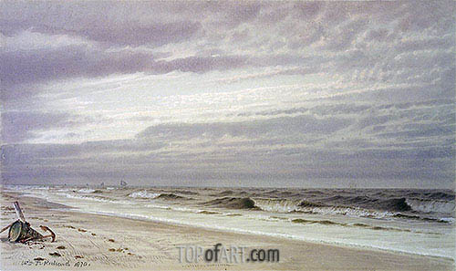 Beach Scene with Barrel and Anchor, 1870 | William Trost Richards| Painting Reproduction