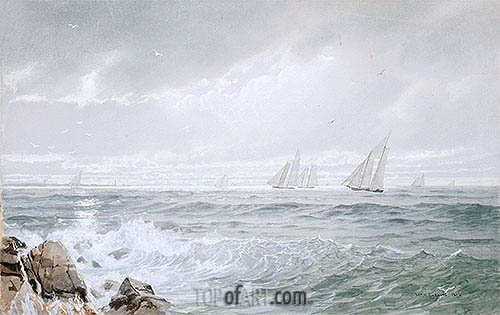 Yachts Off Newport, 1877 | William Trost Richards| Painting Reproduction