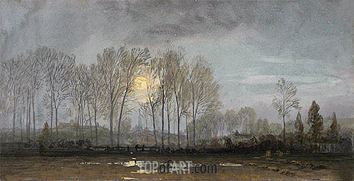 Moonlit Landscape, undated | William Trost Richards| Painting Reproduction
