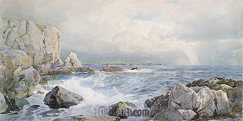 Rocks and Cliffs near the Sea, c.1885/90 | William Trost Richards| Painting Reproduction