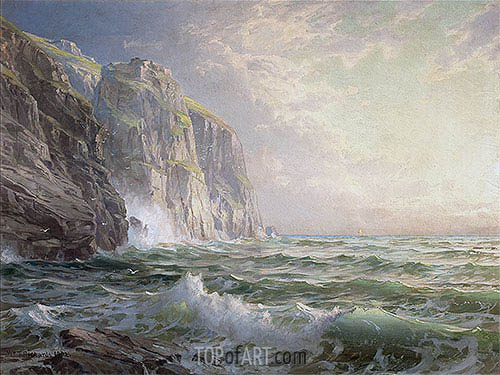 Rocky Cliff with Stormy Sea, Cornwall, 1902 | William Trost Richards| Painting Reproduction