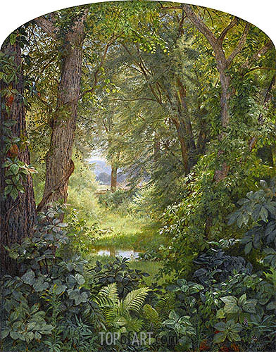Woodland Landscape (Woodland Glade), 1860 | William Trost Richards| Painting Reproduction