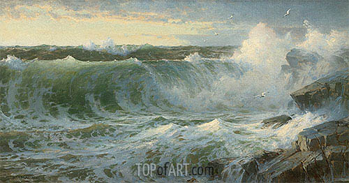 Rocky Surf Off Rhode Island, 1899 | William Trost Richards| Painting Reproduction