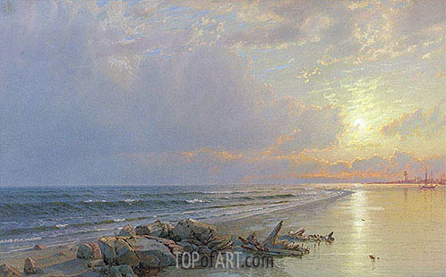Sunset on the New Jersey Coast, 1872 | William Trost Richards | Gemälde Reproduktion
