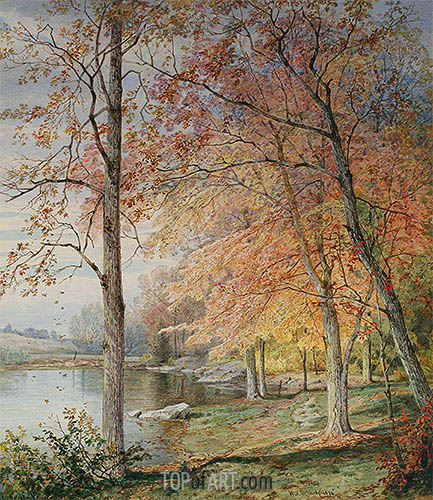 Autumn by a Pond, 1874 | William Trost Richards| Painting Reproduction