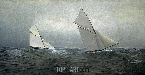 20 Miles to Windward (1885 America's Cup Race), 1885 | William Trost Richards| Painting Reproduction