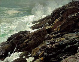 High Cliff, Coast of Maine, 1894 by Winslow Homer | Painting Reproduction