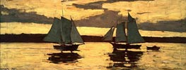 Gloucester, Mackerel Fleet at Sunset, 1884 by Winslow Homer | Painting Reproduction