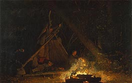 Camp Fire, 1880 by Winslow Homer | Painting Reproduction