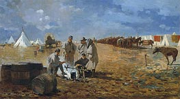 Rainy Day in Camp | Winslow Homer | Painting Reproduction