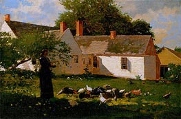 Woman Feeding Chickens and Turkeys, c.1872 by Winslow Homer | Painting Reproduction
