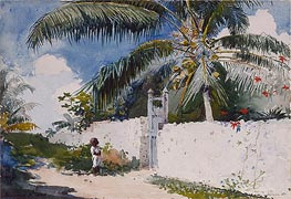 A Garden in Nassau, 1885 by Winslow Homer | Painting Reproduction