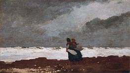 Two Figures by the Sea, 1882 by Winslow Homer | Painting Reproduction