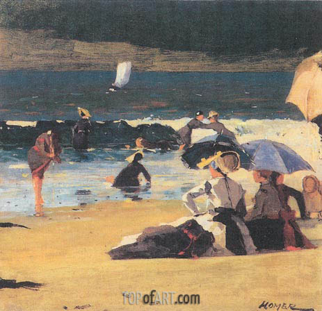 By the Shore, c.1870 | Winslow Homer | Painting Reproduction