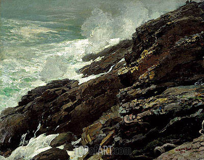 High Cliff, Coast of Maine, 1894 | Winslow Homer| Painting Reproduction