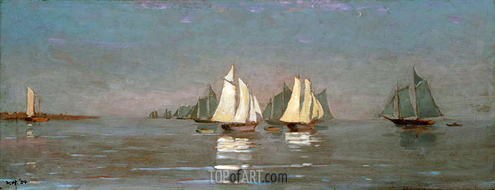Gloucester, Mackerel Fleet at Dawn, 1884 | Winslow Homer| Painting Reproduction