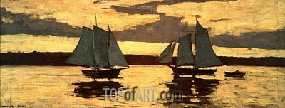 Gloucester, Mackerel Fleet at Sunset, 1884 | Winslow Homer | Gemälde Reproduktion