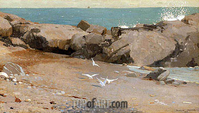 Rocky Coast and Gulls, 1869 | Winslow Homer | Gemälde Reproduktion