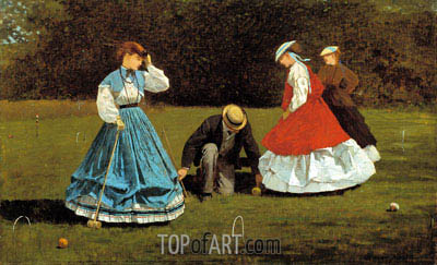 Croquet Scene, 1866 | Winslow Homer| Painting Reproduction