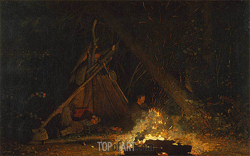 Camp Fire, 1880 | Winslow Homer | Painting Reproduction
