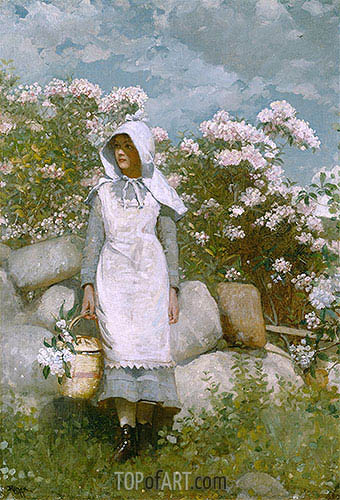 Girl and Laurel, 1879 | Winslow Homer| Painting Reproduction