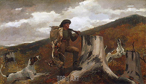 A Huntsman and Dogs, 1891 | Winslow Homer | Painting Reproduction