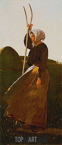 Girl with Pitchfork, 1867 | Winslow Homer | Gemälde Reproduktion