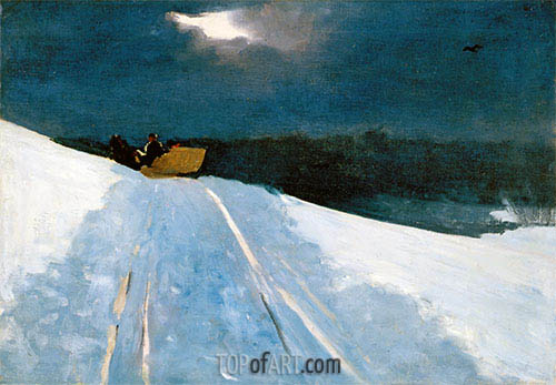 Sleigh Ride (Moonlight on the Snow), c.1890/95 | Winslow Homer | Gemälde Reproduktion