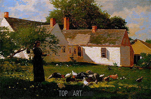 Woman Feeding Chickens and Turkeys, c.1872 | Winslow Homer | Painting Reproduction