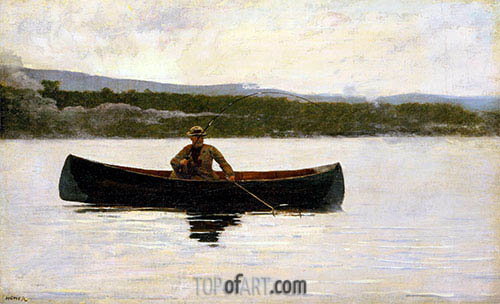 Playing a Fish, c.1875/95 | Winslow Homer | Painting Reproduction
