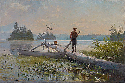 Winslow Homer | An Adirondack Lake (The Trapper), 1870