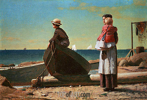 Dad's Coming!, 1873 | Winslow Homer| Painting Reproduction