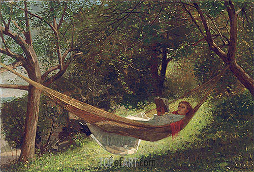 Girl in the Hammock, 1873 | Winslow Homer | Painting Reproduction