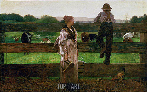 Milking Time, 1875 | Winslow Homer| Painting Reproduction