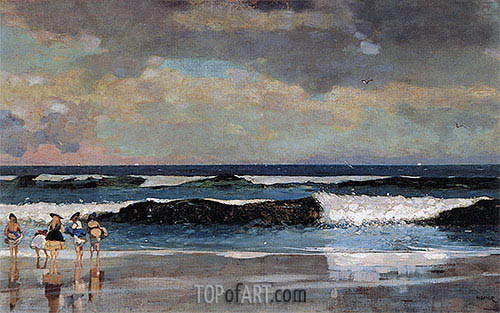 On the Beach, 1869 | Winslow Homer | Gemälde Reproduktion