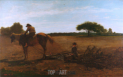 The Brush Harrow, 1865 | Winslow Homer | Painting Reproduction