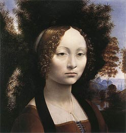 Portrait of Ginevra de' Benci, c.1474/78 by Leonardo da Vinci | Painting Reproduction