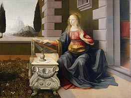 The Annunciation (Detail of Virgin), c.1472/75 by Leonardo da Vinci | Painting Reproduction