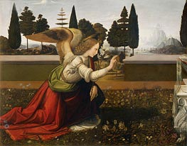 The Annunciation (Detail of Angel), c.1472/75 by Leonardo da Vinci | Painting Reproduction