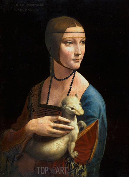 Lady with an Ermine (Cecilia Gallarani), 1496 | Leonardo da Vinci| Painting Reproduction