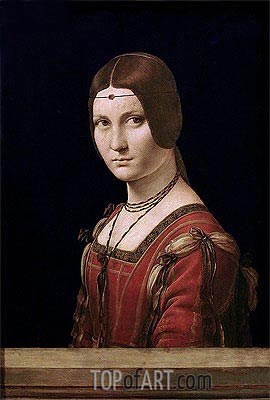 Leonardo da Vinci | La Belle Ferronniere (Portrait of a Lady from the Court of Milan), c.1490/95
