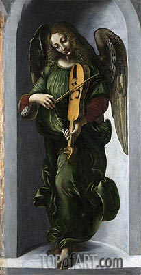 An Angel in Green with a Vielle, b.1506 | Leonardo da Vinci | Painting Reproduction
