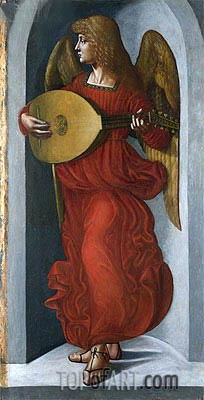Leonardo da Vinci | An Angel in Red with a Lute, c.1490/99