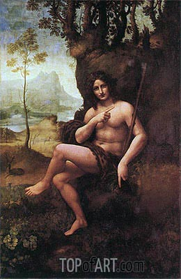 St John the Baptist (with the Attributes of Bacchus), c.1513/19 | Leonardo da Vinci| Painting Reproduction