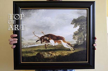 "framed painting ""Hound Coursing a Stag"" by Stubbs"