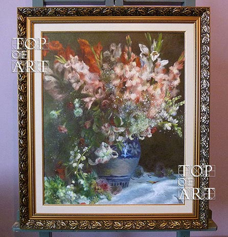 Framed Painting Gladioli in a Vase by Renoir
